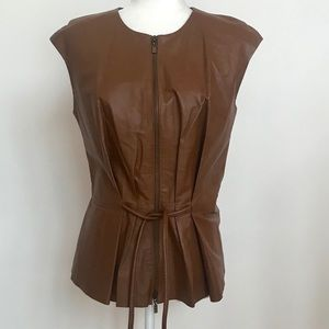 W by Worth camel colour leather vest